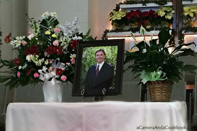 Flowers and Dad's portrait at the Memorial Service