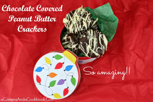 Lysha @ a Camera & a Cookbook shares 12 delightful Christmas treat recipes for this holiday season. Today she is sharing Chocolate Covered Peanut Butter Crackers