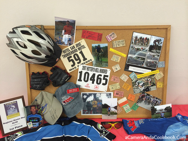 Display of Dad's Cycling Momentos along with Concert tickets
