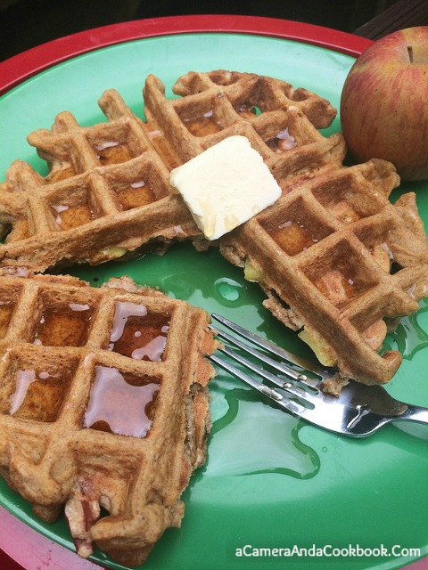 Whole Wheat Waffles with Apples & Pecans