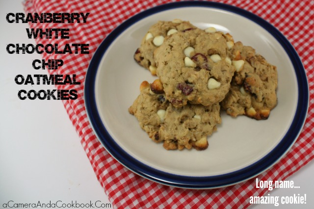 Lysha @ a Camera & a Cookbook shares 12 delightful Christmas treat recipes for this holiday season. Today she is sharing Cranberry White Chocolate Chip Oatmeal Cookies