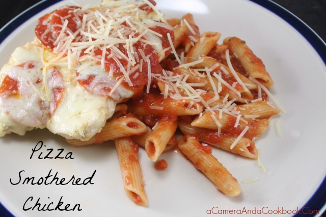 Pizza Smothered Chicken with a side of Pasta - a quick meal for those busy weeknights.