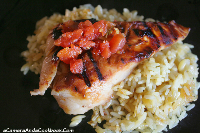 Margarita Chicken on a bed of rice pilaf makes for an easy dinner any time of the year.