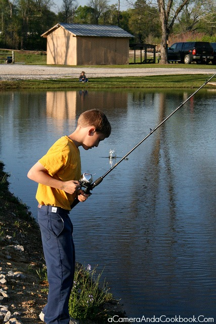 Drew fishing before the ceremony
