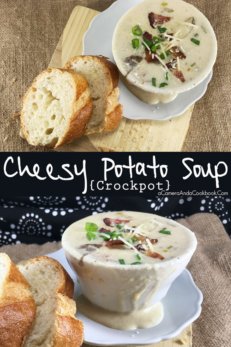 Cheesy Potato Soup {Crockpot} - prepare in the slow cooker and come home to a nice warm meal!