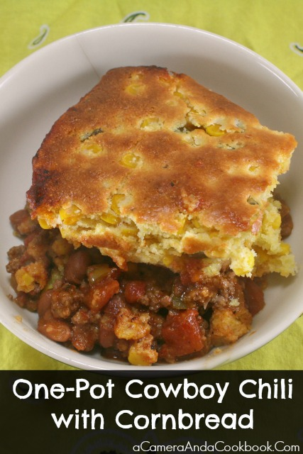 One-Pot Cowboy Chili with Cornbread - This One-Pot Cowboy Chili is so easy and very filling.  I love this because it feeds an army.
