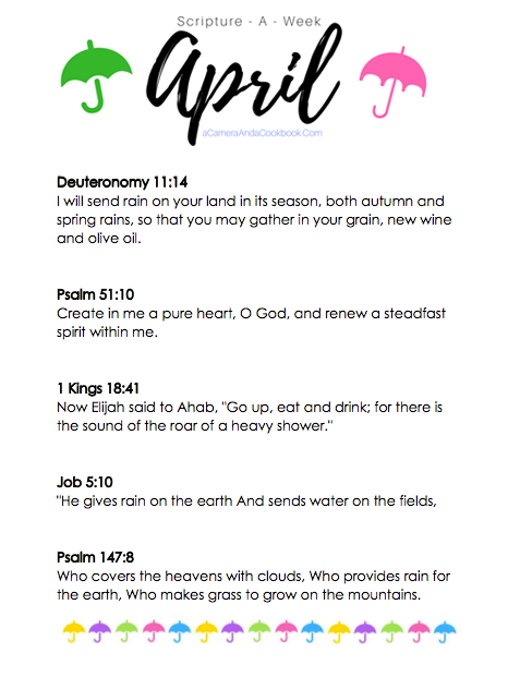 April Scripture-a-Week - Is your New Year's Resolution to memorize Bible Verses? This Scripture-a-Week printable will help you get started with some great scriptures for the month of April!