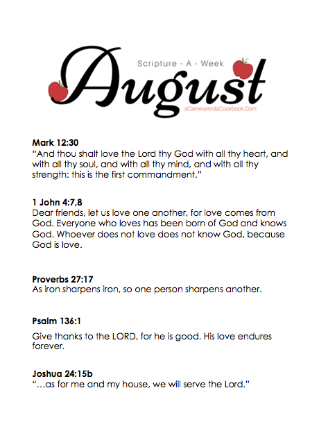 August Scripture-a-Week - Is memorizing Bible Verses a goal you have? This Scripture-a-Week printable will help you get started with some great scriptures for the month of August!