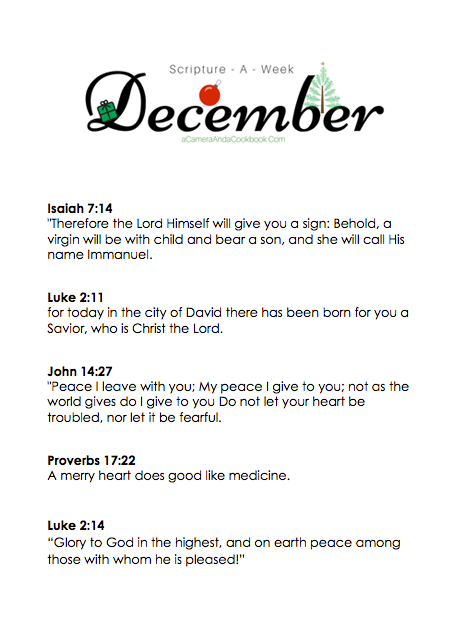 December Scripture-a-Week - Is memorizing Bible Verses a goal you have? This Scripture-a-Week printable will help you get started with some great scriptures for the month of December!