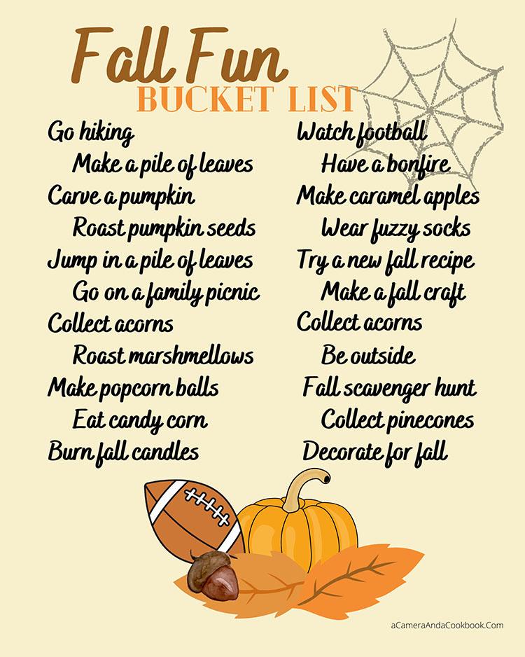 Fall Fun Bucket List - PDF