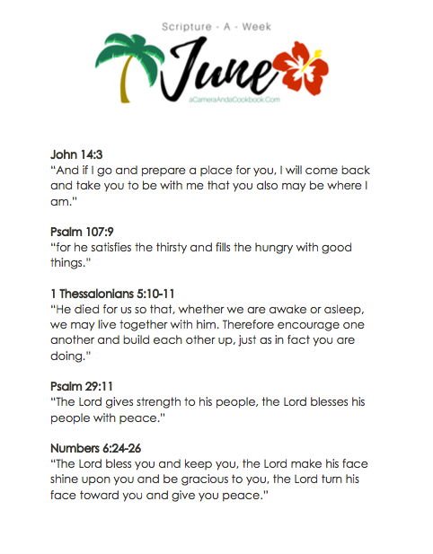 June Scripture-a-Week - Is memorizing Bible Verses a goal you have? This Scripture-a-Week printable will help you get started with some great scriptures for the month of June!