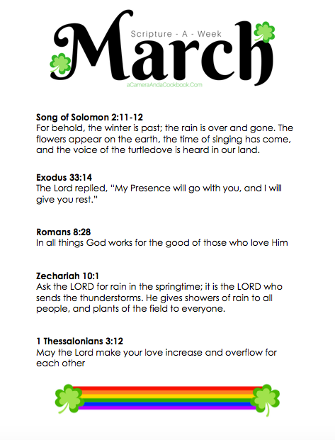 March Scripture-a-Week - Do you have a goal of memorizing Bible Verses? This Scripture-a-Week printable will help you get started with some great scriptures for the month of March!