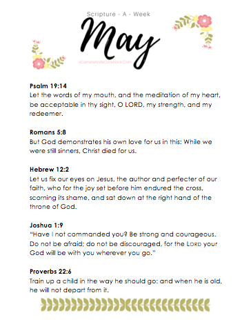 May Scripture-a-Week - Is memorizing Bible Verses a goal you have? This Scripture-a-Week printable will help you get started with some great scriptures for the month of May!