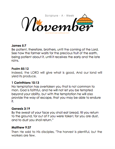 NovemberScripture-a-Week - Is memorizing Bible Verses a goal you have? This Scripture-a-Week printable will help you get started with some great scriptures for the month of November!