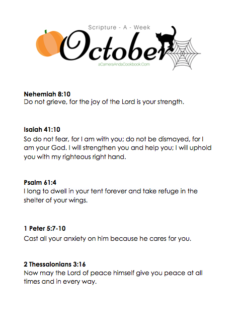 October Scripture-a-Week - Is memorizing Bible Verses a goal you have? This Scripture-a-Week printable will help you get started with some great scriptures for the month of October!