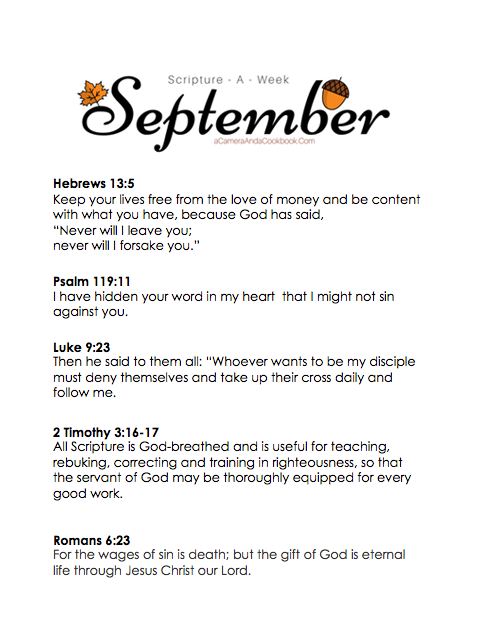 September Scripture-a-Week - Is memorizing Bible Verses a goal you have? This Scripture-a-Week printable will help you get started with some great scriptures for the month of September!