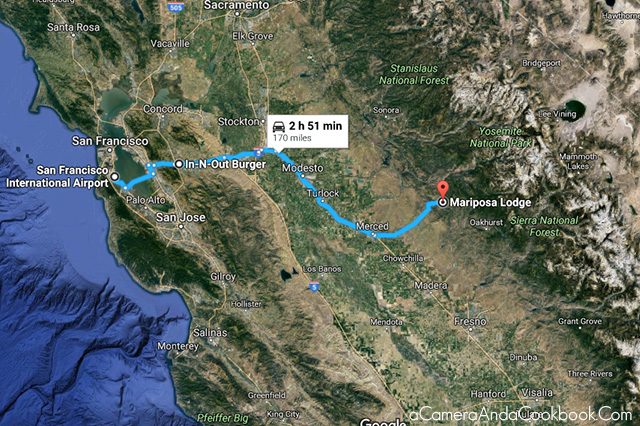 Map from SFO to Mariposa