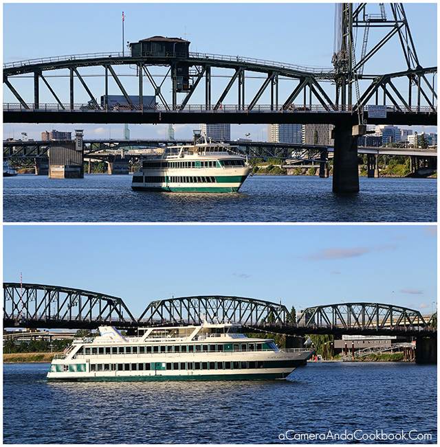 River cruise going underneath Hawthorne Bridge
