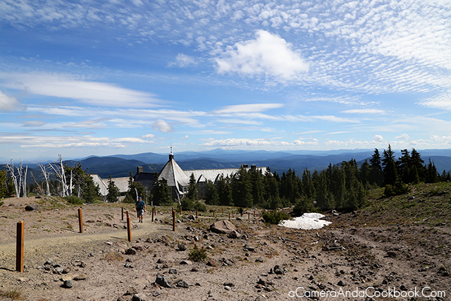 This is the view from where we stopped looking back Timberline Lodge and Mount Jefferson way in the distance.