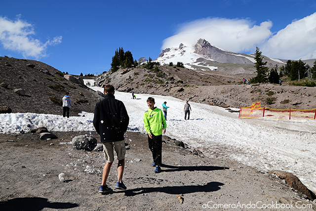 Snowball fight on Mount Hood in the summer