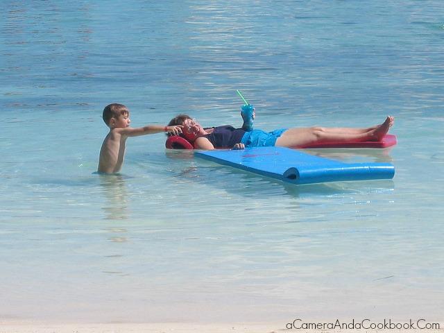 Drew with Grandma enjoying the private island
