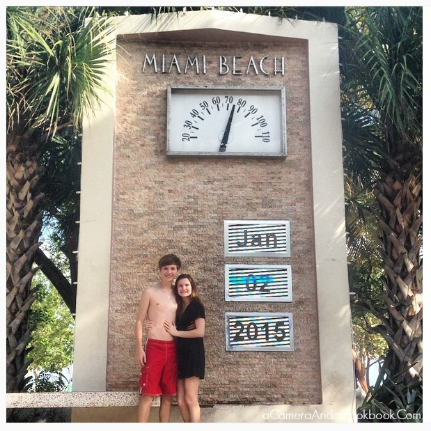 Afternoon in South Beach - Drew & Caitlyn in front of the Miami Beach sign